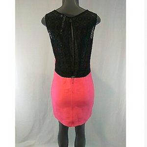 Rachel Roy Pink Sleeveless Dress Size 4 Lace Sheer